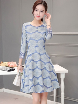 Ericdress Lace Patchwork Print Pleated Casual Dress