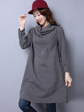 Ericdress Heap Collar Pleat Loose Casual Dress