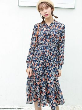 Ericdress Japanese  V-Neck Lace-Up Floral Casual Dress