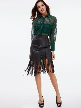 Ericdress Hollow Lace See-Through Shirt Leisure Suit