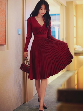 Ericdress Cross V-Neck Pleated Belt Casual Dress