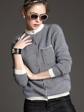 Ericdress Color Block Stripped Single-Breasted Knitwear
