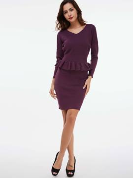 Ericdress V-Neck Falbala Patchwork Slim Bodycon Dress