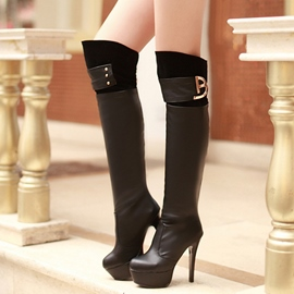 Ericdress Patchwork Platform Ultra High Thigh High Boots