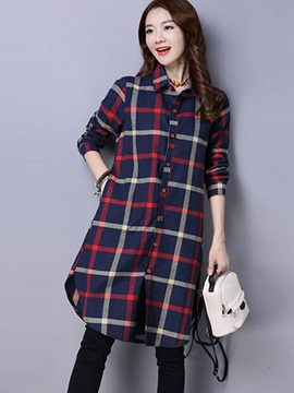 Ericedress Plaid Single-Breasted Blouse