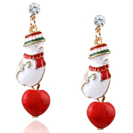 Ericdress Colorful Christmas Snowman Pendant Earrings