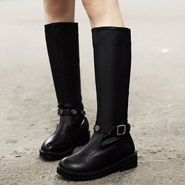 Ericdress PU Round Toe Buckles Knee High Boots