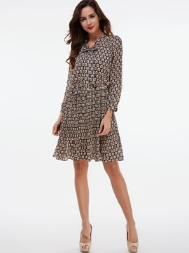 Ericdress Bowknot Patchwork Geometric Pleated Casual Dress
