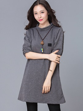 Ericdress Lapel Solid Color Embossing Casual Dress