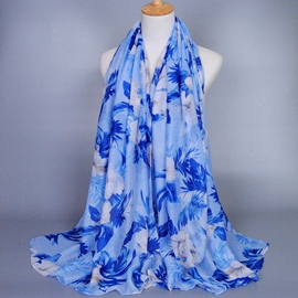 Ericdress Long Voile Blue Flowers Printed Women's Scarf