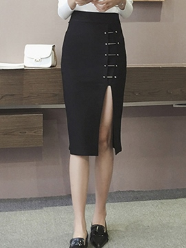 Ericdress Asymmetric High-Waist Column Skirt