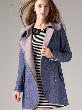 Ericdress Color Block Turn-Down Zipper Polo Coat