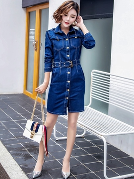 Ericdress Denim Pocket Belt Three-Quarter Sleeve Sheath Dress