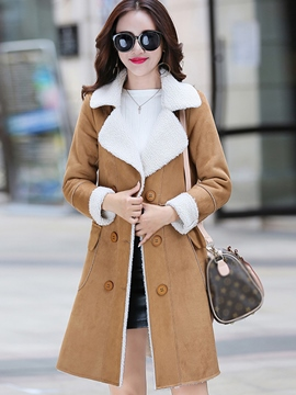 Ericdress Color Block Fleece Slim Coat