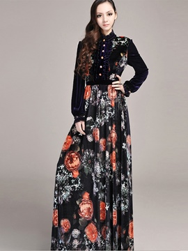 Ericdress Vintage Single-Breasted Stand Collar Floral Print Maxi Dress