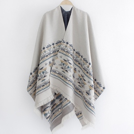 Ericdress Oversized Imitation Cashmere Cape Shawl
