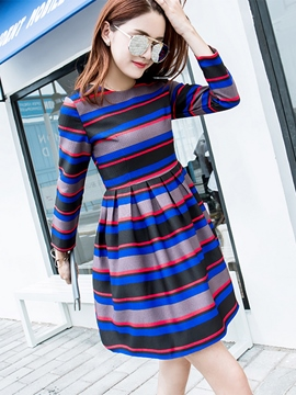 Ericdress Princess Strip Pleated Casual Dress