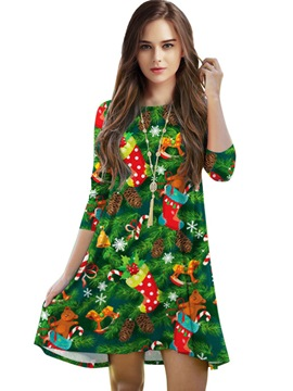 Ericdress Christmas Print A-Line Casual Dress