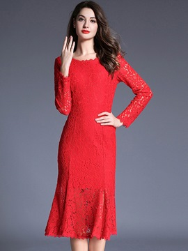 Ericdress Elegant Back V-Neck Mermaid Lace Dress