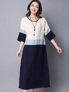 Ericdress Japanese Color Block Patchwork Casual Dress