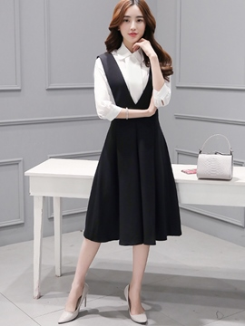 Ericdress Pleated Suspenders Expansion Dress Suit
