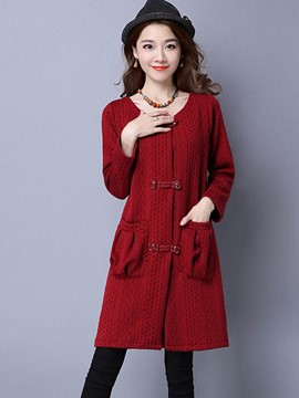 Ericdress Casual Plain Slim Trench Coat