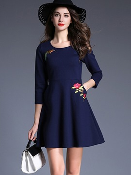 Ericdress Elegant Embroidery Pocket Casual Dress