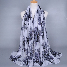 Ericdress Voile Big Flowers Printed Women's Scarf