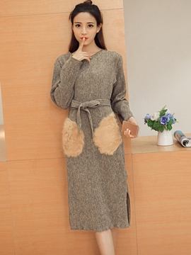 Ericdress Furry Pocket Patchwork Belt Sweater Dress