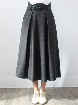 Ericdress Plaid Print Wave Cut Belt Maxi Skirt
