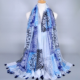 Ericdress Blue Voile Geometry Printed Scarf