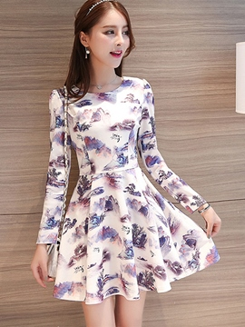 Ericdress Ink Printting Pleated Patchwork Casual Dress