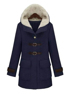 Ericdress Color Block Straight Hooded Coat