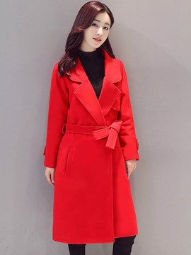 Ericdress Solid Color Polo Belt Slim Coat