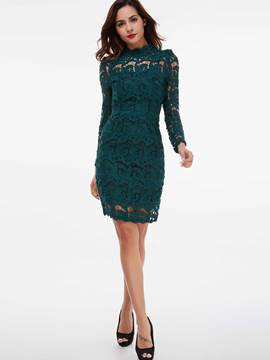 Ericdress Lace Hollow Turtleneck Patchwork Lace Dress