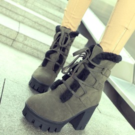 Ericdress Short Floss Lace up Chunky Heel Ankle Boots