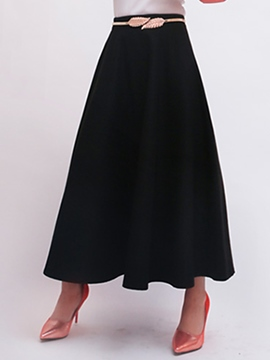 Ericdress Pleated Belt High-Waist Expansion Maxi Skirt