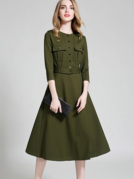 Ericdress Button Pocket Patchwork Three-Quarter Sleeve Maxi Dress