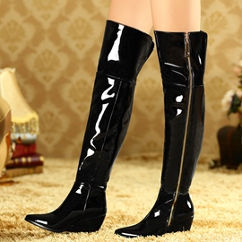 Ericdress Patent Leather Wedge Heel Thigh High Boots