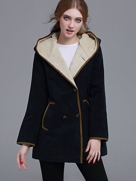 Ericdress Slim Color Block Fleece Coat