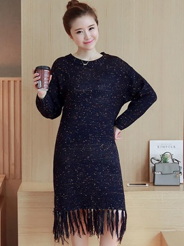 Ericdress Tassel Round Collar Straight Sweater Dress