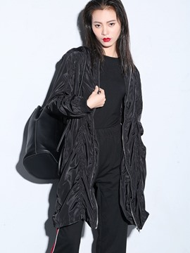 Ericdress Black Loose Pleated Trench Coat