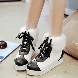 Ericdress Color Block Lace up Ankle Boots