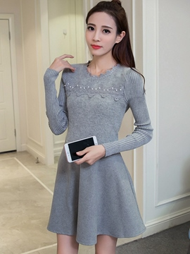 Ericdress Lace Patchwork Bead Pleated Casual Dress