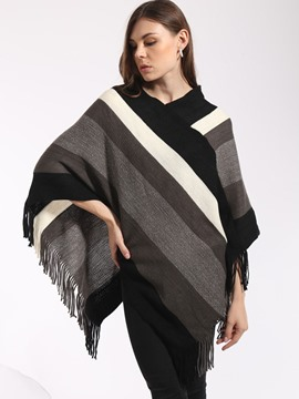 Ericdress Color Block Asymmetric Cape
