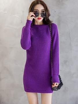 Ericdress Round Collar Plain Bodycon Sweater Dress