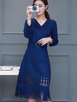 Ericdress Geometric Hollow Tassel Belt Casual Dress