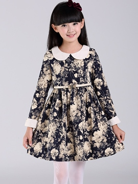 Ericdress Floral Print Doll Collar Belt Girls Dress