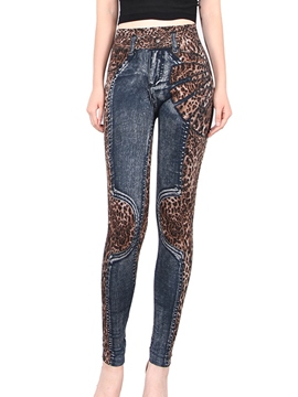 Ericdress Leopard Print High-Waist Leggings Pants