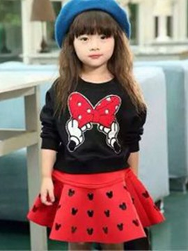 Ericdress Bow Print T-Shirt Hollow Skirt Girls Outfit
